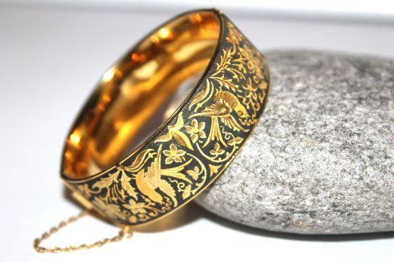 Vintage Hinged Damascene Etched Bangle, Toledo Spain, Bracelet, 24K Plated Gilded on Etsy, $39.66 CAD