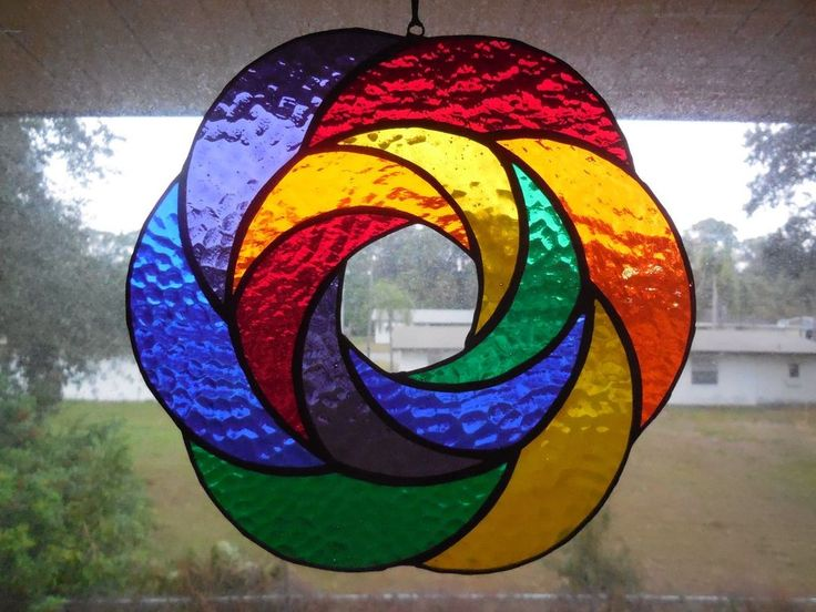 Handmade Rainbow Geometric Abstract Stained Glass Suncatcher Art #Handmade