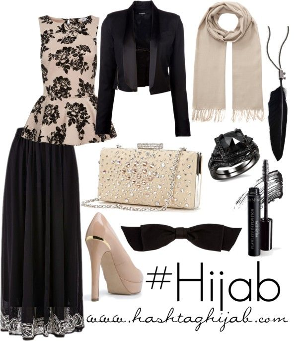 Hashtag Hijab Outfit #58 nice interplay of basic colors, integration of interesting detail in skirt and jewelry