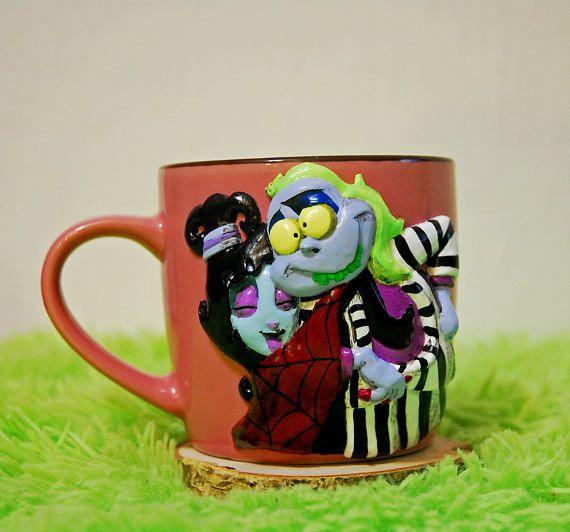 BeetlejuiceTim Burton cup mug mug with decor handmade