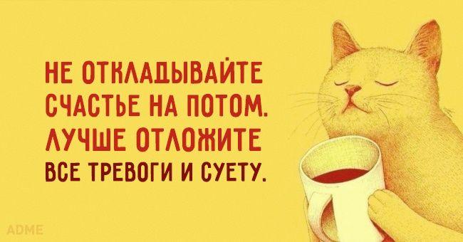 Не откладывайте счастье!!! 15солнечных открыток справильным отношением кжизни