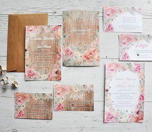 Papeteria ślubna  stylu rustykalnym z akwarelowymi motywami kwiatowymi od Projekt Ślub Więcej na projektslub.com