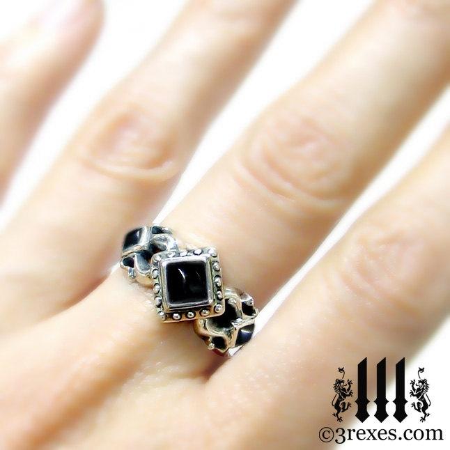 Royal Princess Silver Engagement Ring Meval Wedding Band Black Onyx Size Via With Rings
