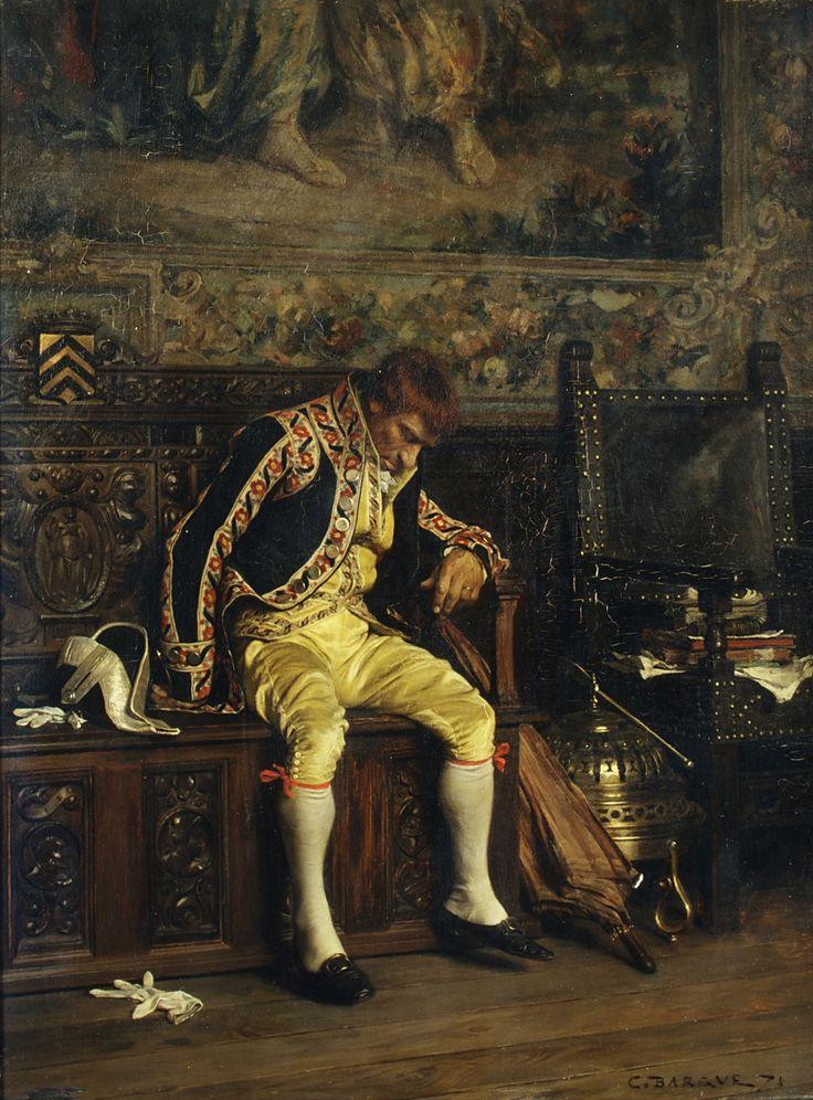 A Footman Sleeping Charles Bargue oil on canvas 1871