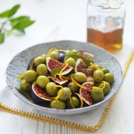 Here's another great combination to celebrate Tapas Tuesday! Marinated green Olives From Spain, figs, orange & bay.