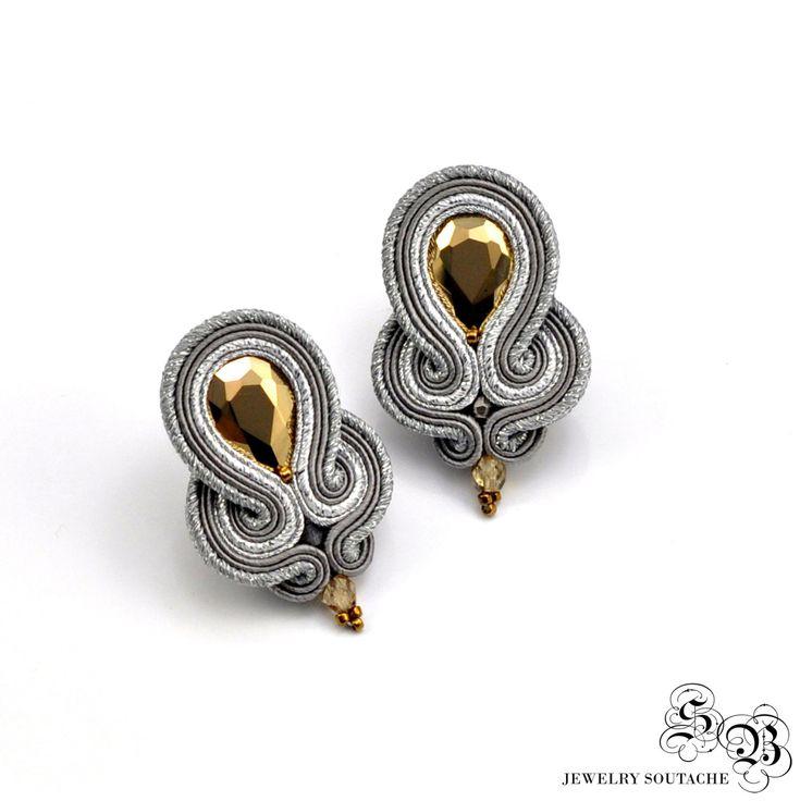 Ellegant Clip-on Earrings, Silver Gold Soutache Earrings, Ellegant Clip On…