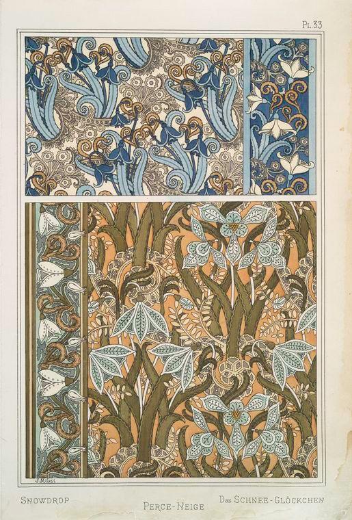 Eugène Grasset (Swiss, 1841-1917). La plante et ses applications ornementales. Snowdrop. Pl. 33. 1896.