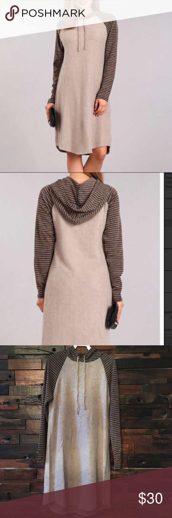 """Hoodie dress Mocha colored hoodie dress. Striped long sleeved detail. Softest dress ever!!!! Or you can wear as a long top with leggings.  Length is 36"""". large fits 8-12. 96% polyester, 4% spandex. Dresses"""
