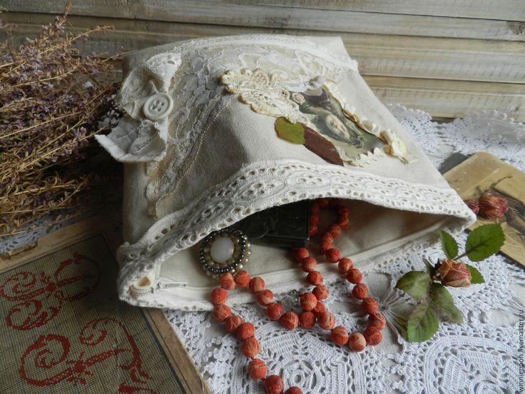 Купить Косметичка льняная - бежевый, винтаж, ретро, бабушкин сундук, коллаж, пуговицы, тесьма, лен