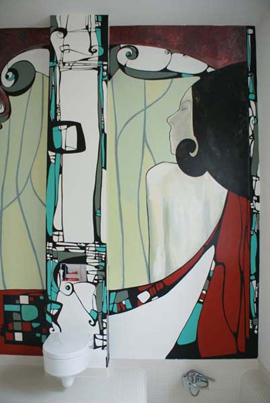 "Bathroom wall mural hand painted inspired by Klimt, ""Dreaming"" Perete baie pictat inspirat de Klimt, ""Dreaming"""