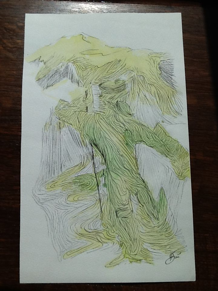 Original ink & watercolor painting signed H. JOSÉ, The Golden Age of Alpinism