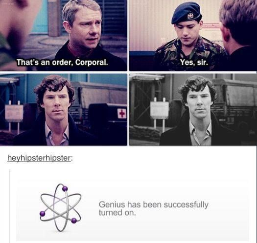 """Feel the Johnlock lol"" — Haha, I love this. When John pulled rank, I think I was a bit turned on, too. ;) hehe."