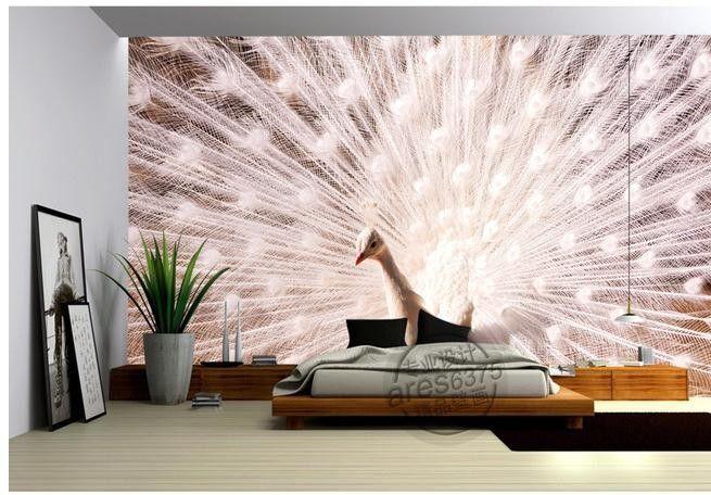 Стикер стены обои белый павлин телевизор фоне фотообоями обои 3d обои персонализированные фрески wallpaer20151449 купить на AliExpress