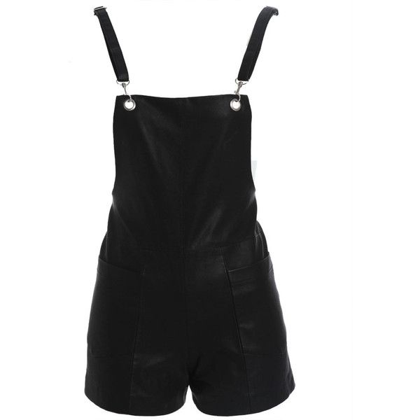 Bardot Leatherette Overalls (1.803.115 VND) ❤ liked on Polyvore featuring jumpsuits, rompers, shorts, overalls, playsuits, black, open back rompers, playsuit romper, open back romper and zipper romper
