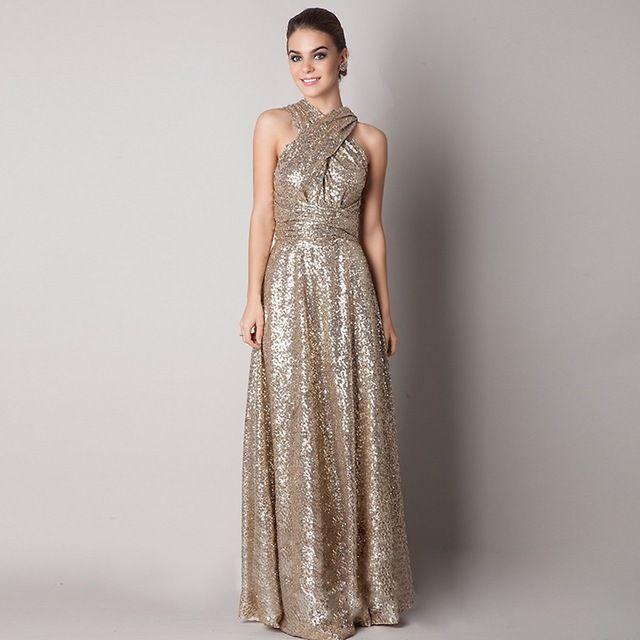 2017 largo sequind oro rosa/champagne convertiable maternidad más tamaño país de dama de honor vestidos de dama de honor vestidos de 10291137