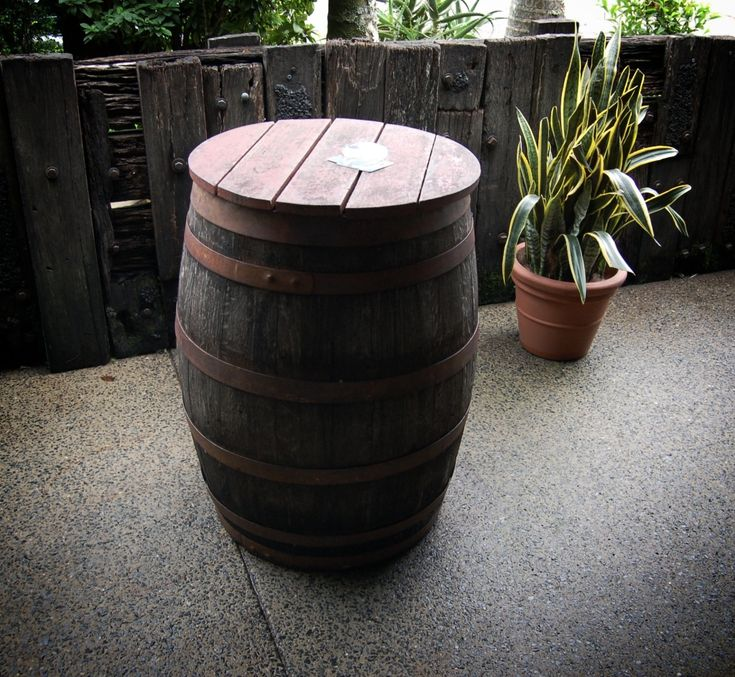 A Barrel for a Beer Garden table at the Eltham Hotel
