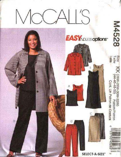 McCall's+Sewing+Pattern+4528+Womans+Plus+Size+26W-32W+Easy+Wardrobe+Jacket+Skirt+Top+Dress+Pants