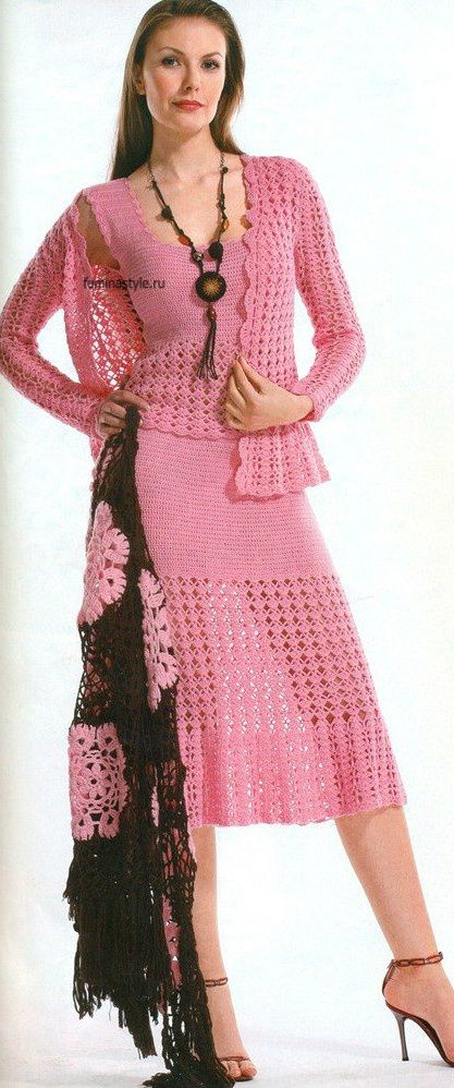 "Crocheted Pink Dress/Tank/Cardigan-""This is so adorable. I would have closed skirt longer."" ♥"