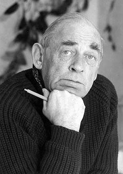 Alvar Aalto with chunky black knit sweater