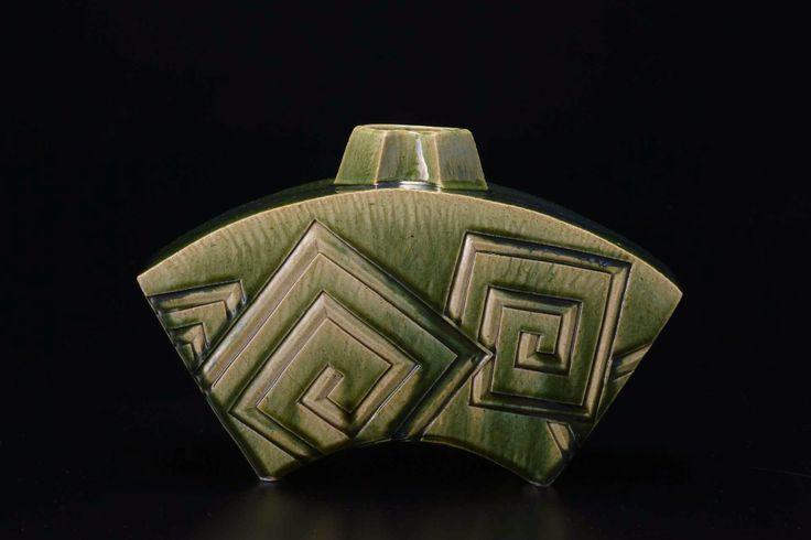 織部刻文花器 Vase with engraved,Oribe type 2014
