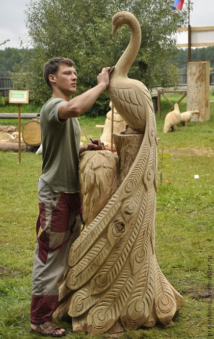 Парковая деревянная скульптура - скульптура,дерево,дача,Парковая скульптура