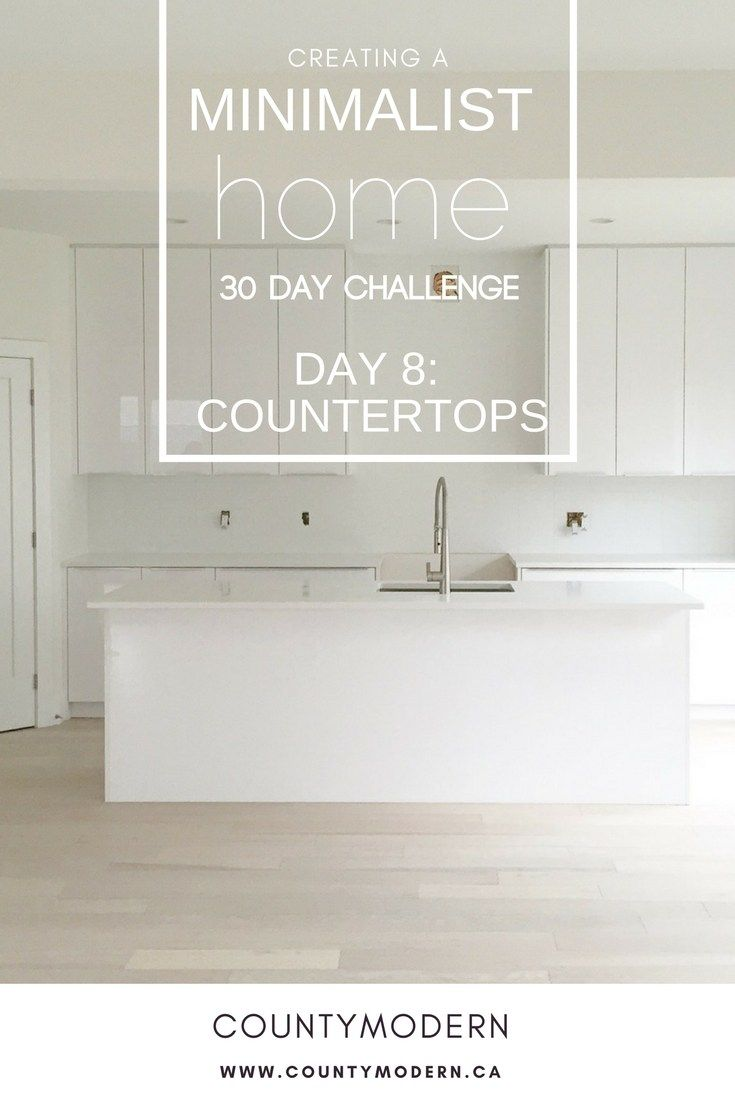 Organize and declutter your kitchen, starting with the countertops! Follow these tips from County Modern with the 30 Day Minimalist Home Challenge
