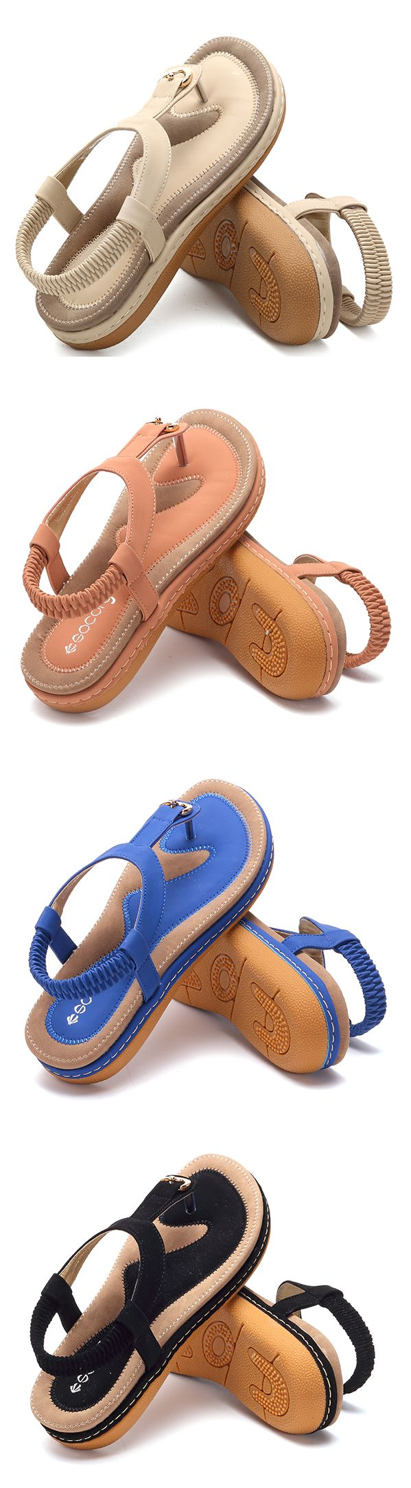 c76b32cc9cf5 SOCOFY Comfortable Elastic Clip Toe Flat Beach Sandals is comfortable to  wear. Shop on NewChic to see other cheap women sandals on sale.