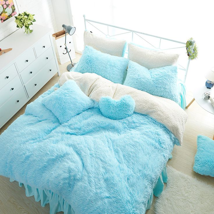 Blue White color Thick Fleece Winter Bedding set 3/4/7Pcs Twin Queen King size Kids Girls Bed set Duvet cover Bed skirt set  #Affiliate