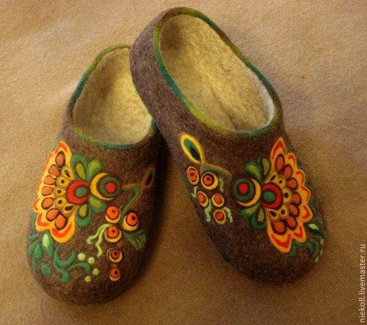 """Купить домашние тапочки """"Русский стиль"""" - коричневый, русский стиль, войлочные тапочки, домашние тапочки"""