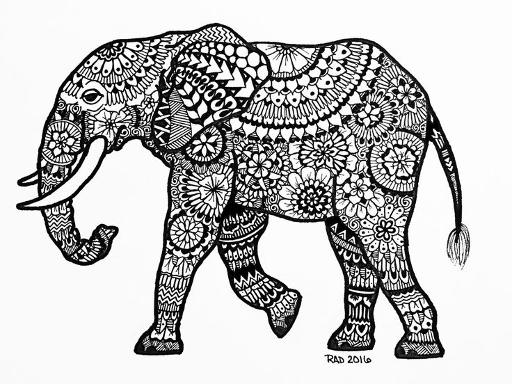 free zentangle elephant coloring pages - photo#32