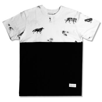 Raised By Wolves Jungle Tee - Black and White  Label: Raised By Wolves   Format: Tshirt  £25.00 (£30.00 inc VAT)     Canadian born brand Raised By Wolves takes its inspiration from Skate culture, Urban clothing, and other popular trends combining them to create unique and one of a kind pieces of clothing.   •	Raised By Wolves  •	Raised By Wolves Jungle Tee-Shirt  •	Black & White colourway  •	100% Cotton  •	Screen printed design front & back  •	Regular fit