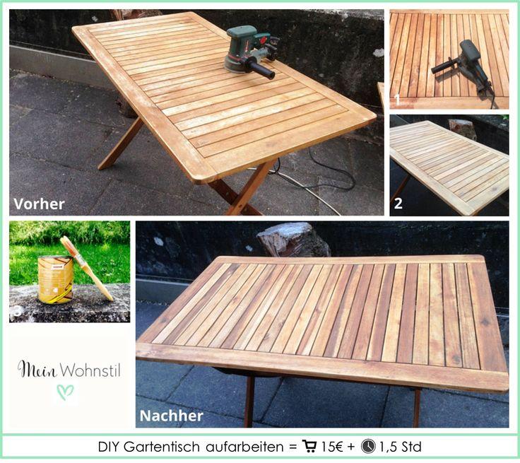 DIY Gartentisch aufarbeiten  ausführliche ANLEITUNG: www.facebook.com/meinwohnstil SCHRITT 1 (Bild 1 & 2): Tisch abschleifen   SCHRITT 2 (Bild 3): Tisch anstreichen mit Öl/Lack/Lasur für den Außenbereich Um das beste Ergebnis zu erzielen: Schritt 1 und 2 wiederholen ABER bei Schritt 1 eine feinere Körnung (z.B. 240er) verwenden.  Material Holz Lasur - http://amzn.to/27IMJyK  Werkzeug Pinsel - http://amzn.to/1U5vLQF Schleifmaschine - http://amzn.to/1U5w7H9