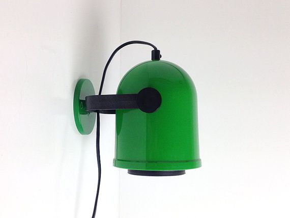 Green Plastic Wall Lamp / Mod style / Sweden 70s by RigaVintage