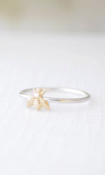Tiny Bee Ring  little gold bee ring