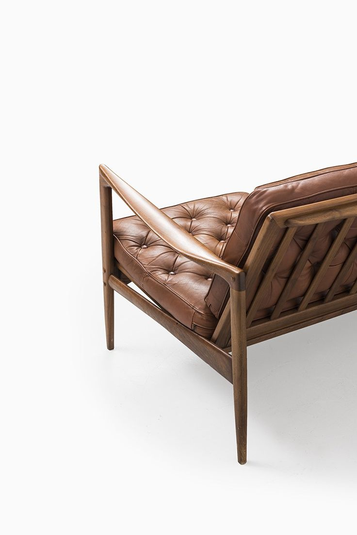Rare sofa model Kandidaten in teak and brown leather designed by Ib Kofod-Larsen and produced by OPE in Sweden