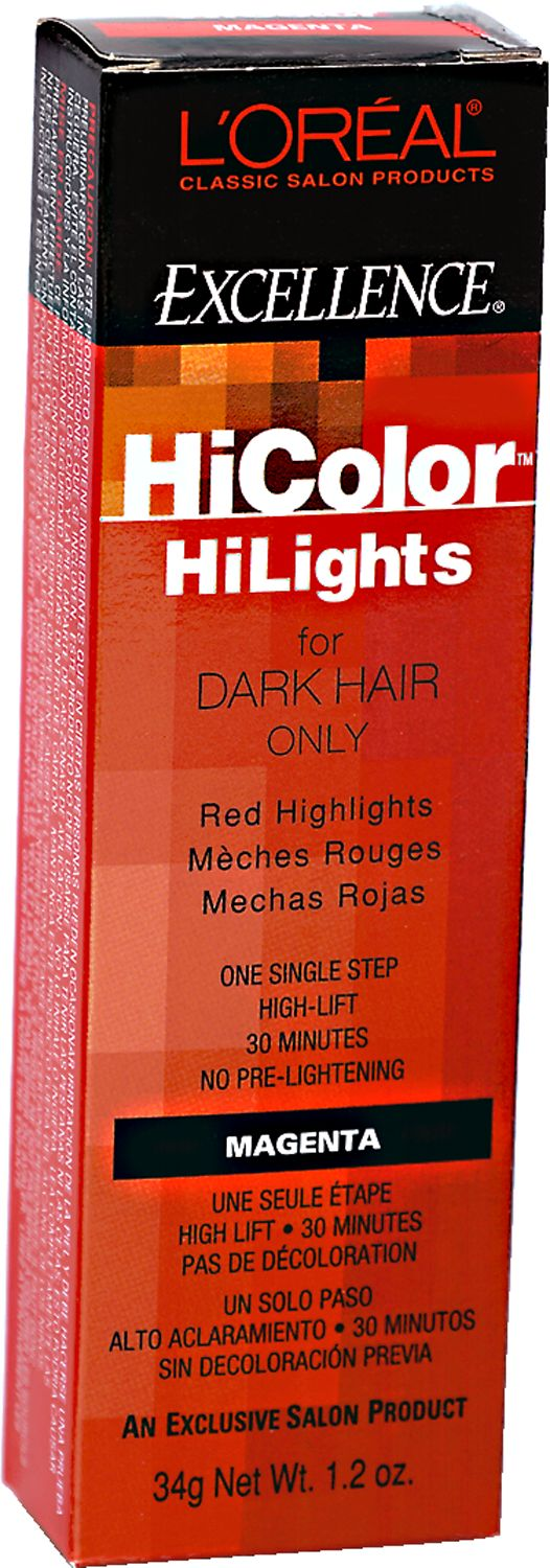 L'Oreal Excellence HiColor Red HiLights Permanent Creme HiLighting for dark hair lifts 3-4 levels with no pre-lightening required.