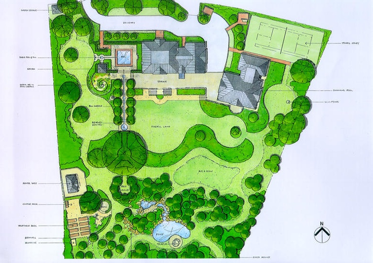 Lovely assortment of round lawns masterplan of large for Garden design 1 acre