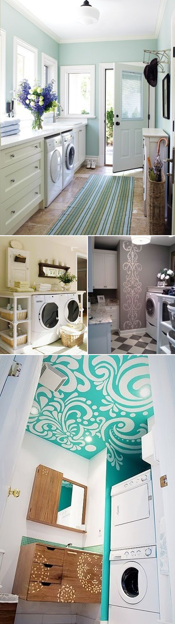 beautiful laundry rooms love the CEILING! I want my laundry room to be a happy place :)