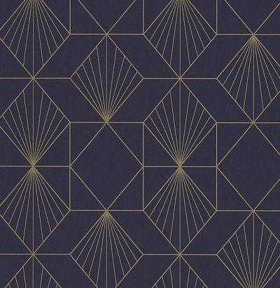 темно-синие обои с золотой геометрией 366072 Eijffinger