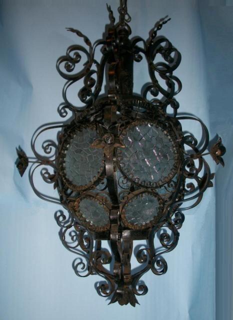 grande antico lampadario lampione ferro battuto cristalli foglie ...