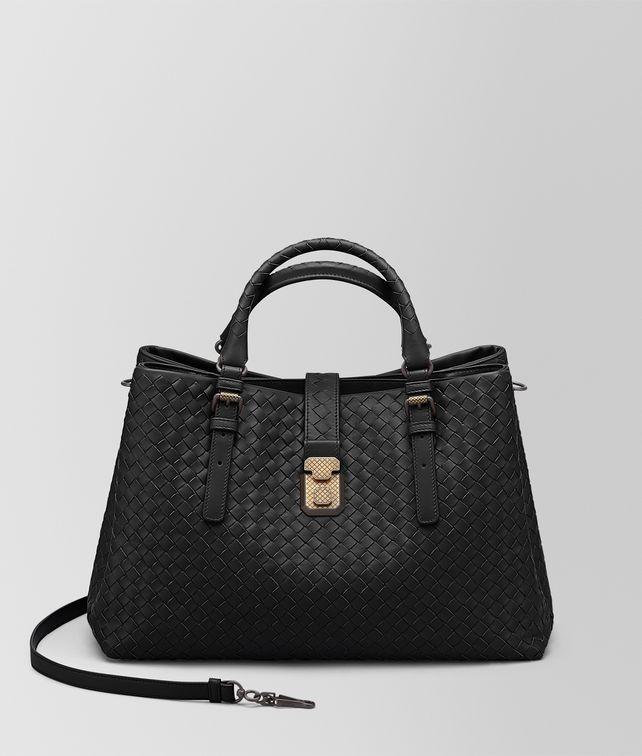 1370d50547b Bottega Veneta®   Nero Intrecciato Calf Medium Roma Top-Handle Bag   Our  largest