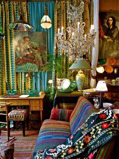 Michele  Aragon, Designer to VIP in Paris & beyond: Decor Colorful, Curtains, Beautiful Boho, Colors, Living Room, Ethnic Boho Hippie Trib, Deep Colour, Squares Inch, White Brick