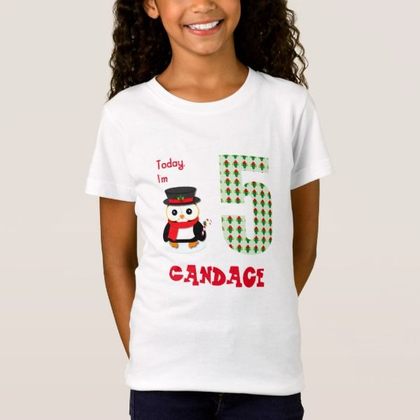 Today I'm 5 Birthday Christmas Penguin T-Shirt #christmas #kids #clothing #baby