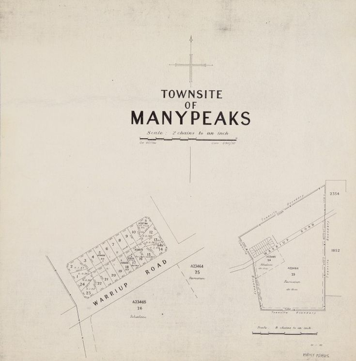 manypeaks cadastral map showing land use includes sketch showing townsite boundaries scale 1