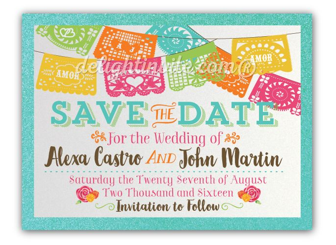 Mexican Fiesta Paper Flags Save The Date Announcement Cards Papel Picado For My Wedding In 2018 Pinterest Invitations
