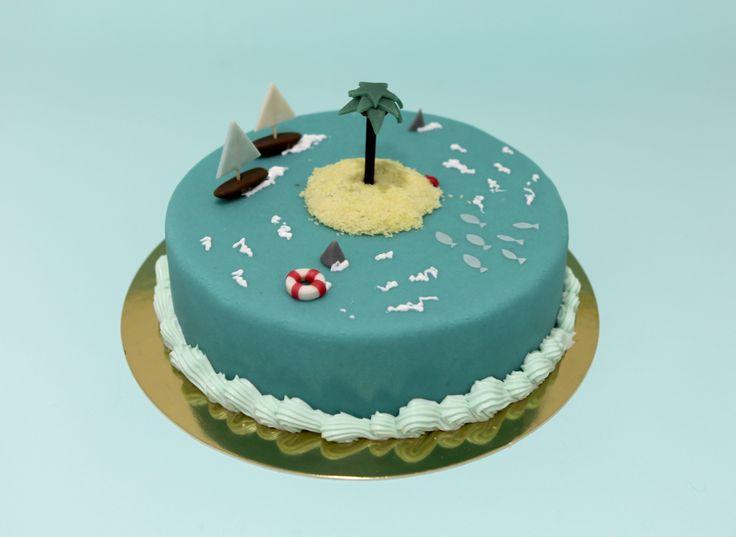île déserte by Pâtisserie Chez Bogato 7 rue Liancourt, Paris 14e. Ouvert du mardi au samedi de 10h à 19h. Tel. 01 40 47 03 51 Cake Design Birhtday cake Gâteau d'anniversaire
