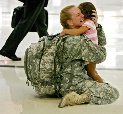 This is me every day that I pick up my kids from preschool... haha : )  Seriously cannot imagine being a deployed mommy.