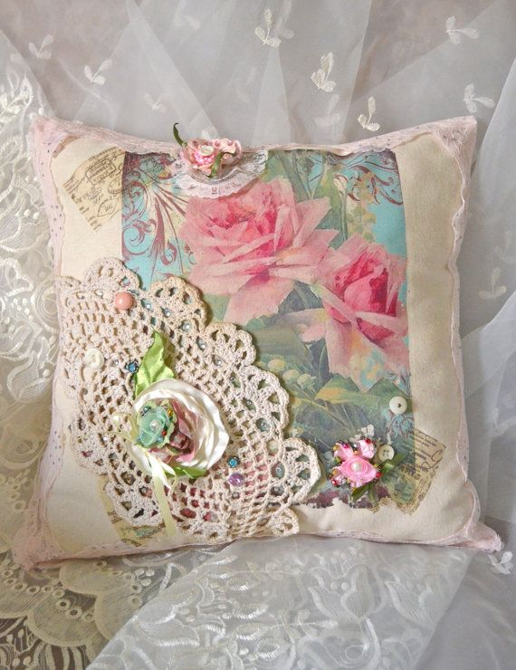 French Shabby Chic Pink Rose Pillow by OliviabyDesign