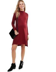 Бордовое трикотажное платье для будущих мам Asos Maternity