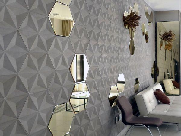 Tuiles en béton à l'intérieur hexagonale 3d Combinaison miroir mural